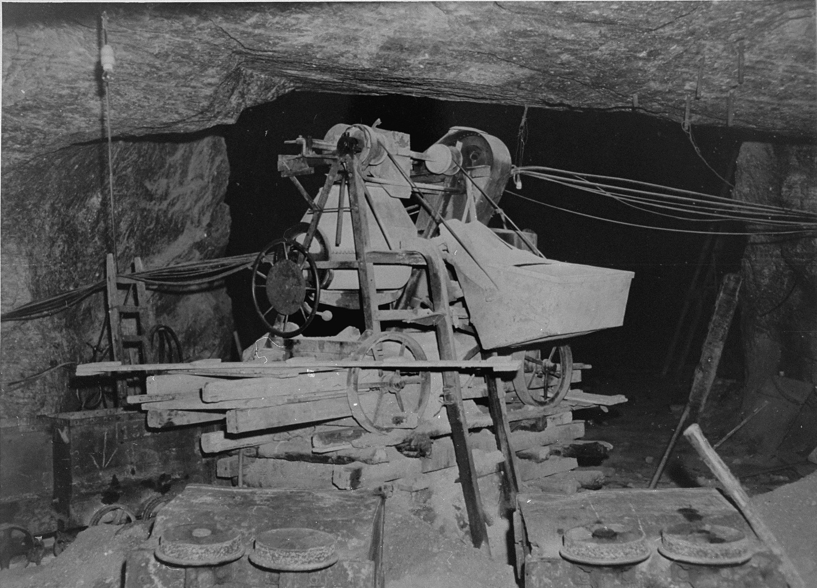 "Factory equipment found in Ploemnitz (""Leau"" after 10 October 1944), a sub-camp of Buchenwald."