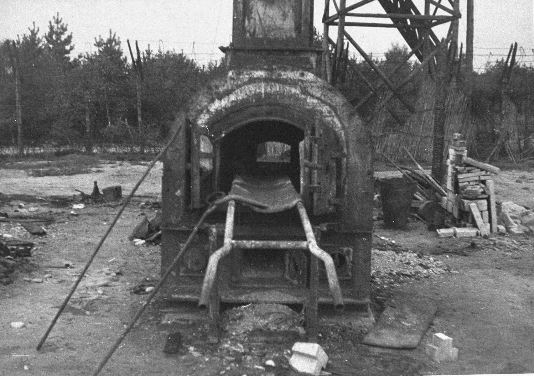 Crematorium oven at Bergen-Belsen after the liberation of the camp.