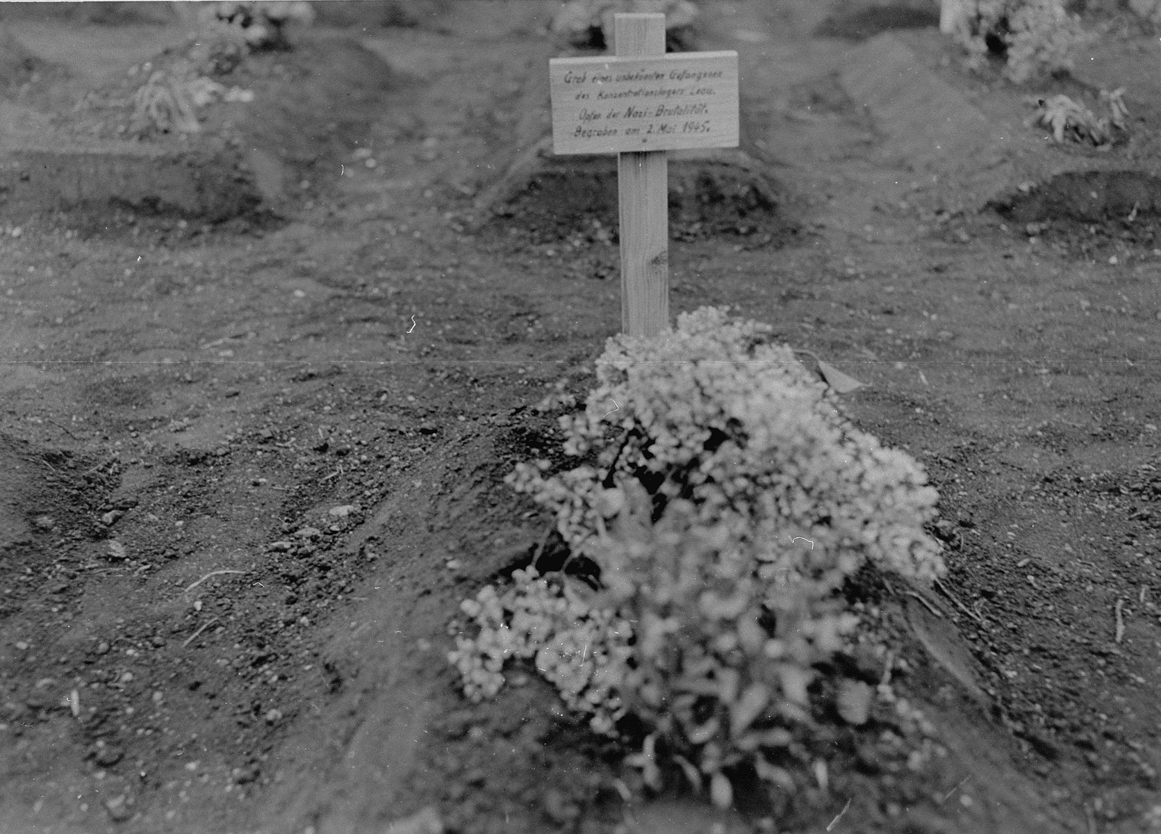 """View of a grave marker in Ploemnitz (""""Leau"""" after 10 October 1944), a sub-camp of Buchenwald."""