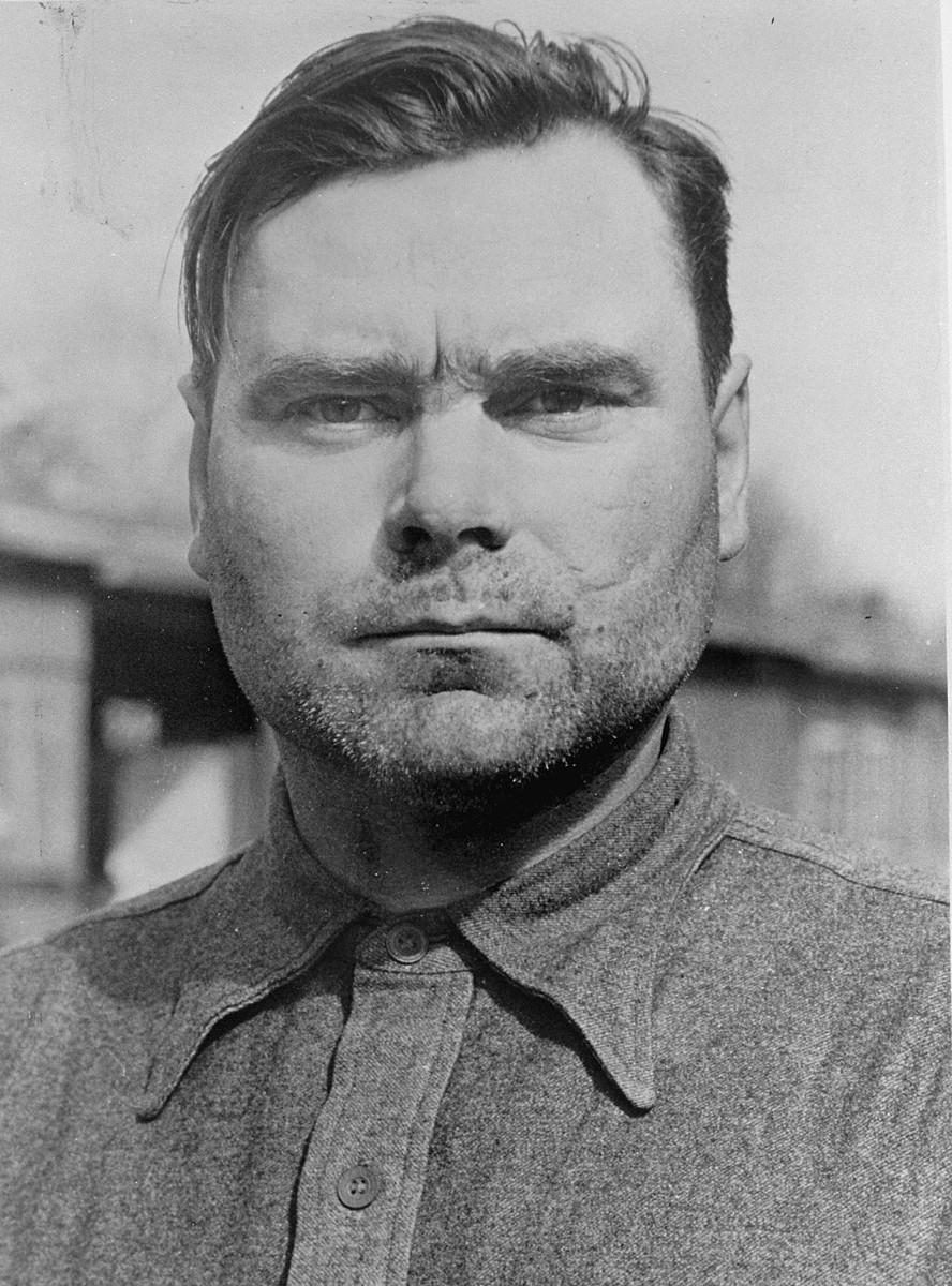 Josef Kramer, formerly the SS commandant of Auschwitz-Birkenau killing center and Bergen-Belsen concentration camp, under arrest.