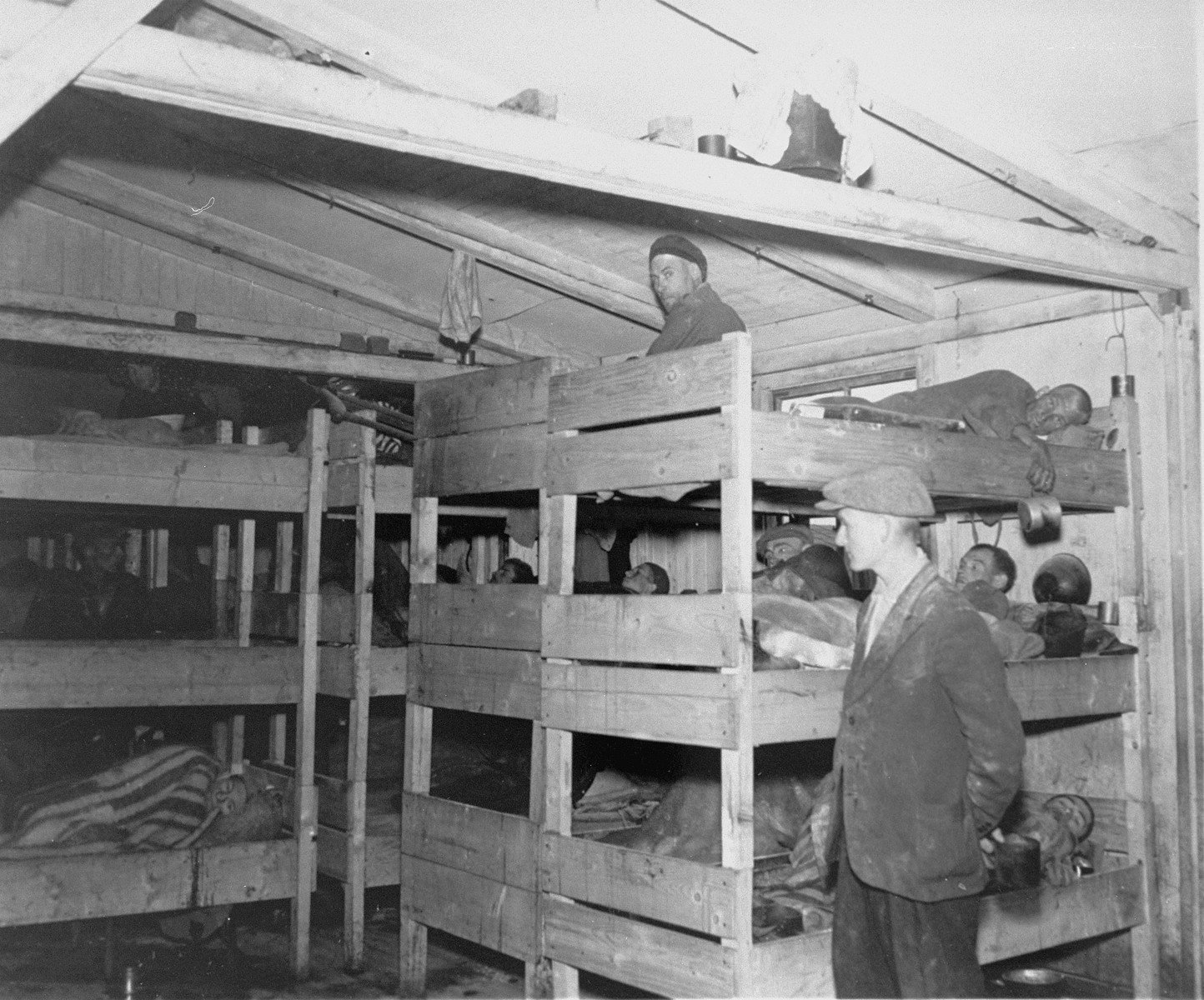 Prisoners in a barracks at liberation.