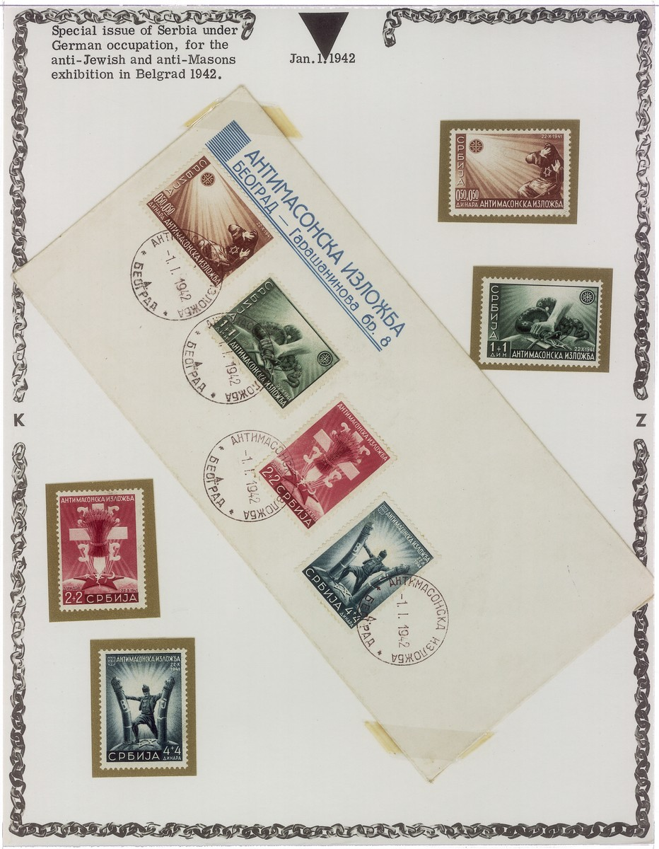 A special issue of Serbian stamps bearing anti-Semitic and anti-Masonic themes dating from the German occupation.  The series was issued for an exhibition on Jews and Free Masons in Belgrade in 1942.