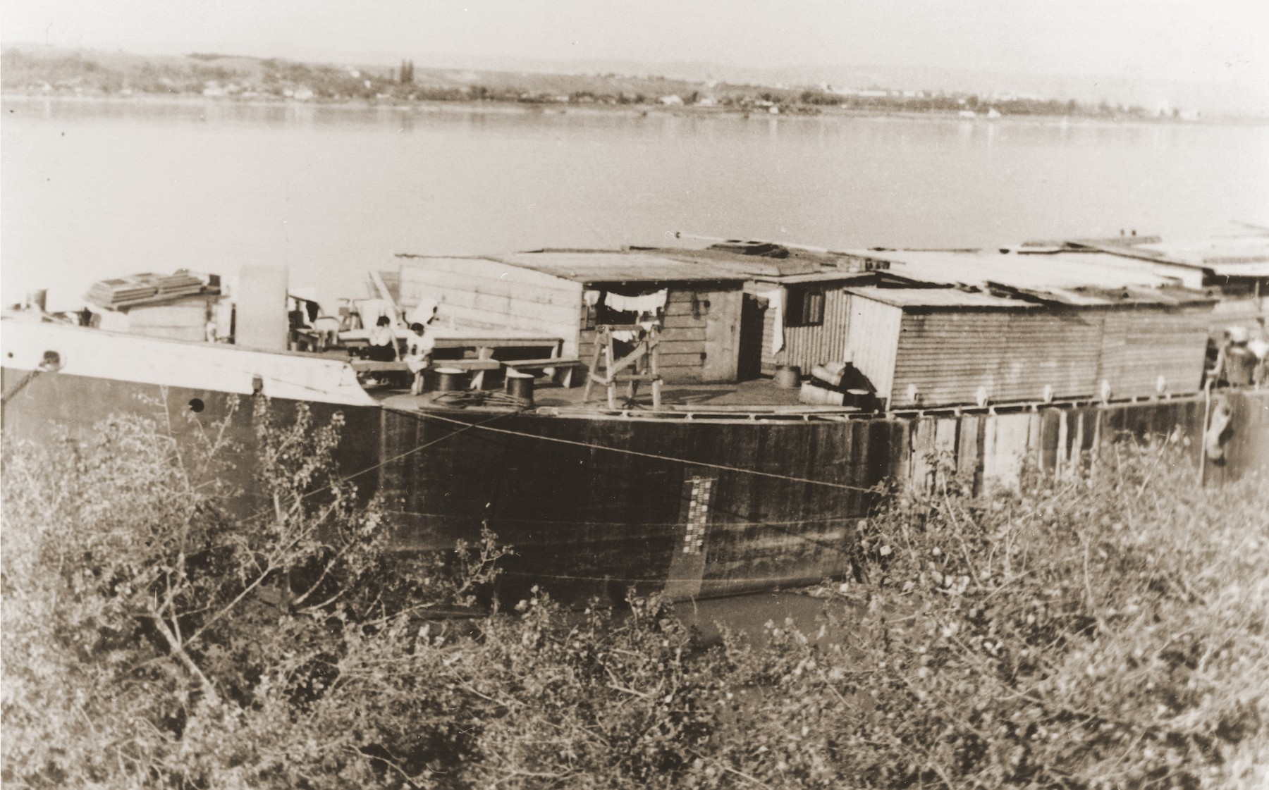 View of the barge Penelope that was secured by the Federation of Jewish Communities in Yugoslavia to ease overcrowded living conditions for the stranded refugees of the Kladovo transport.