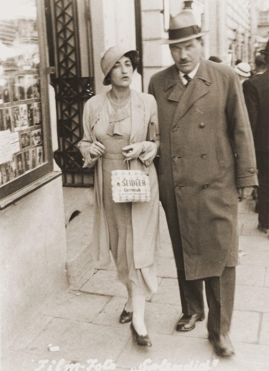Friedricke Gottfried and P. Jitariu on the Herrngasse, a commercial street in Czernowitz.  Jitariu, a Romanian, translated her dissertation from German into Romanian.