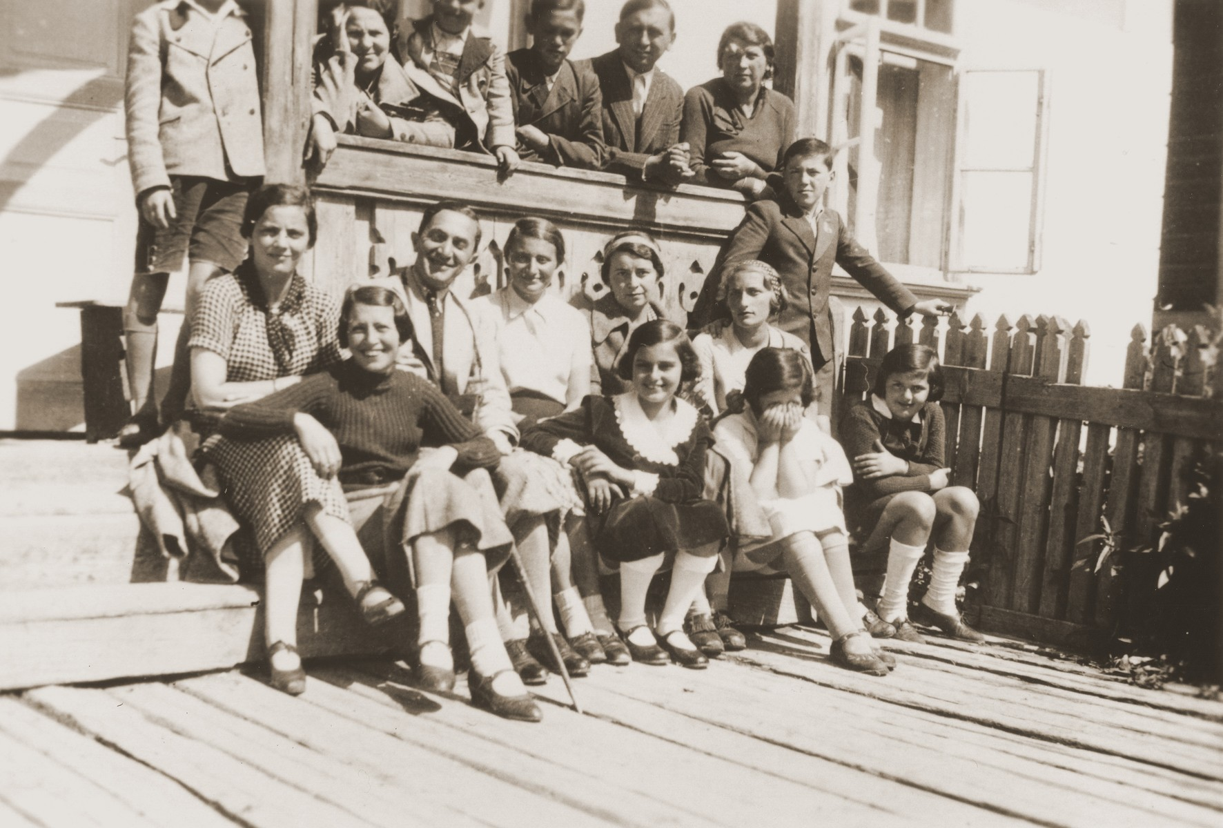 Lotte Gottfried poses with friends and relatives at a resort in Iacobeni.  Among those pictured are Blanka Morgenstern Engler (middle row, left) and Rosa Schwarzkopf (in front of Blanka).