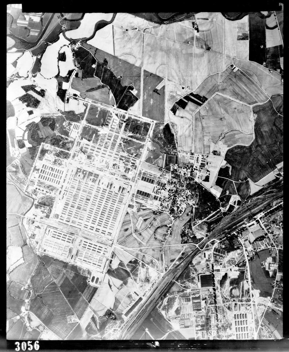 An aerial reconnaissance photograph of Auschwitz.