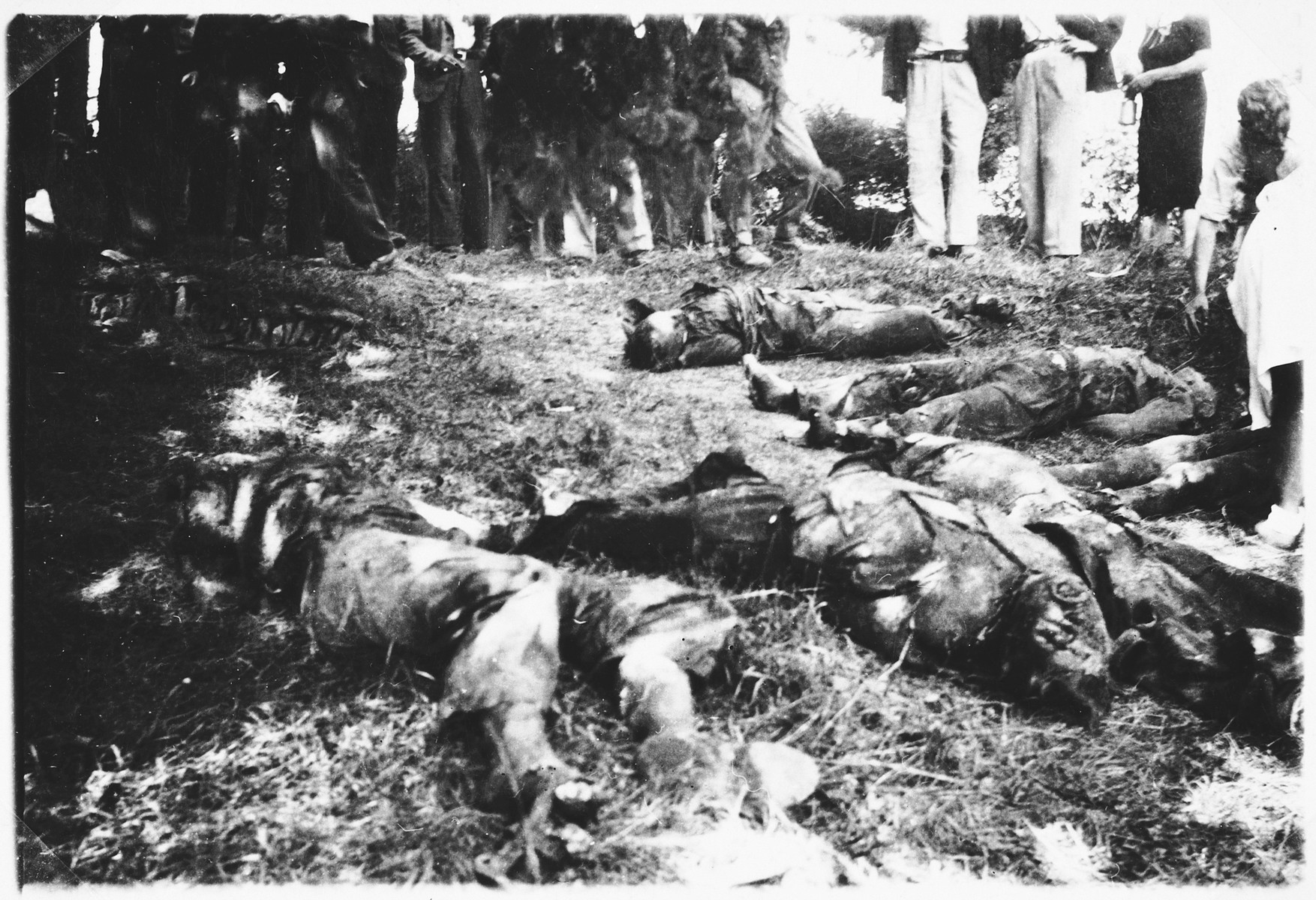 French civilians look at the bodies of fellow townspeople killed by Wehrmacht troopers in St. Pol-de-Leon.