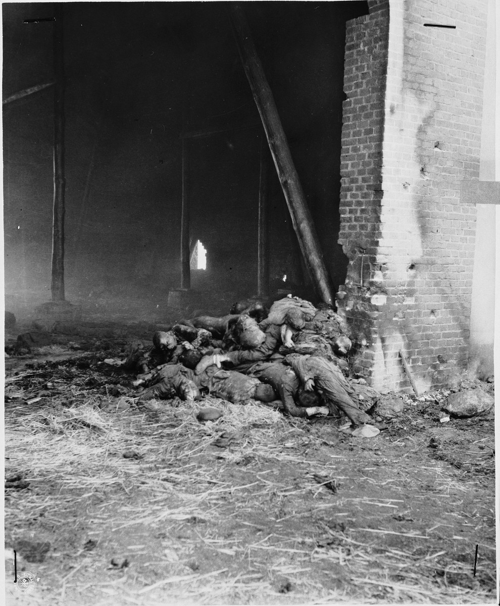 A pile of corpses near the northwest door of the barn outside of Gardelegen where over 1,000 prisoners were burned alive.  In the background is a hole in the west wall supposedly caused by a Panzerfaust.