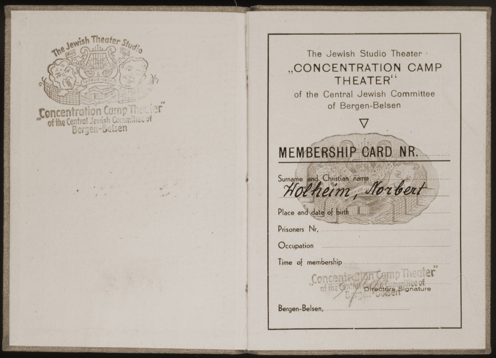Inside pages of an ex-concentration camp theater ID card issued to Norbert Wollheim at Bergen-Belsen.  Stamp on the L with the image of a lyre and comedy and tragedy masks surrounded by a barbed wire fence.