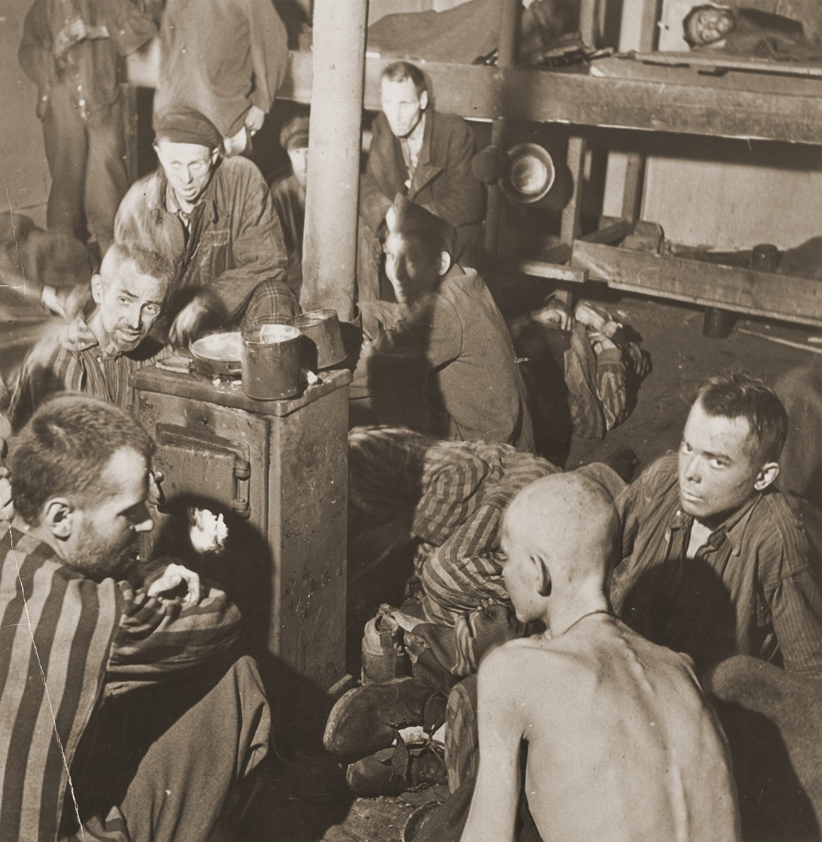 Allied POWs in a barracks in Stalag XB at Sandbostel near Zeven.  The camp was liberated by units of the British Guards Armored Division.