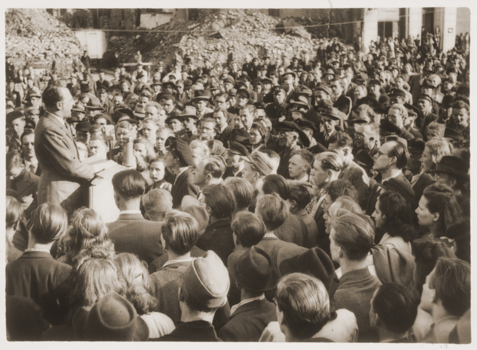 Norbert Wollheim, vice-chairman of the Central Committee for Liberated Jews in the British Zone of Germany, addresses a rally protesting the lenient sentencing of a Nazi war criminal.