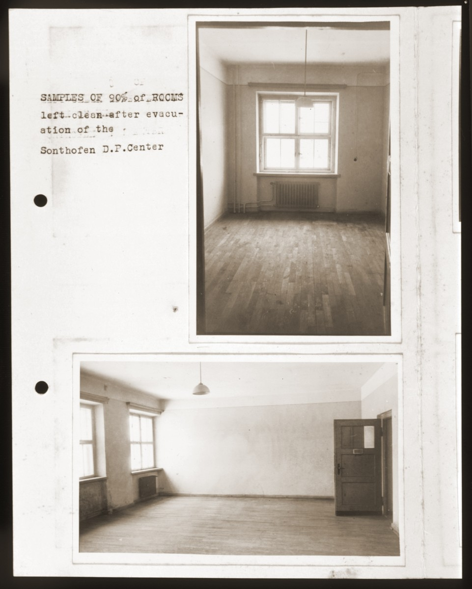 """An album page featuring two photographs of empty rooms at the Sonthofen displaced persons center.    The caption reads, """"Samples of 90% of rooms left clean after evacuation of the Sonthofen DP Center."""""""