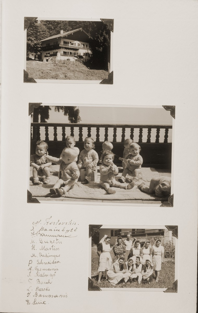 Album page bearing photographs of toddlers and nurses at the Kloster-Indersdorf children's home.    A list of nurses' signatures appears at the bottom of the page.