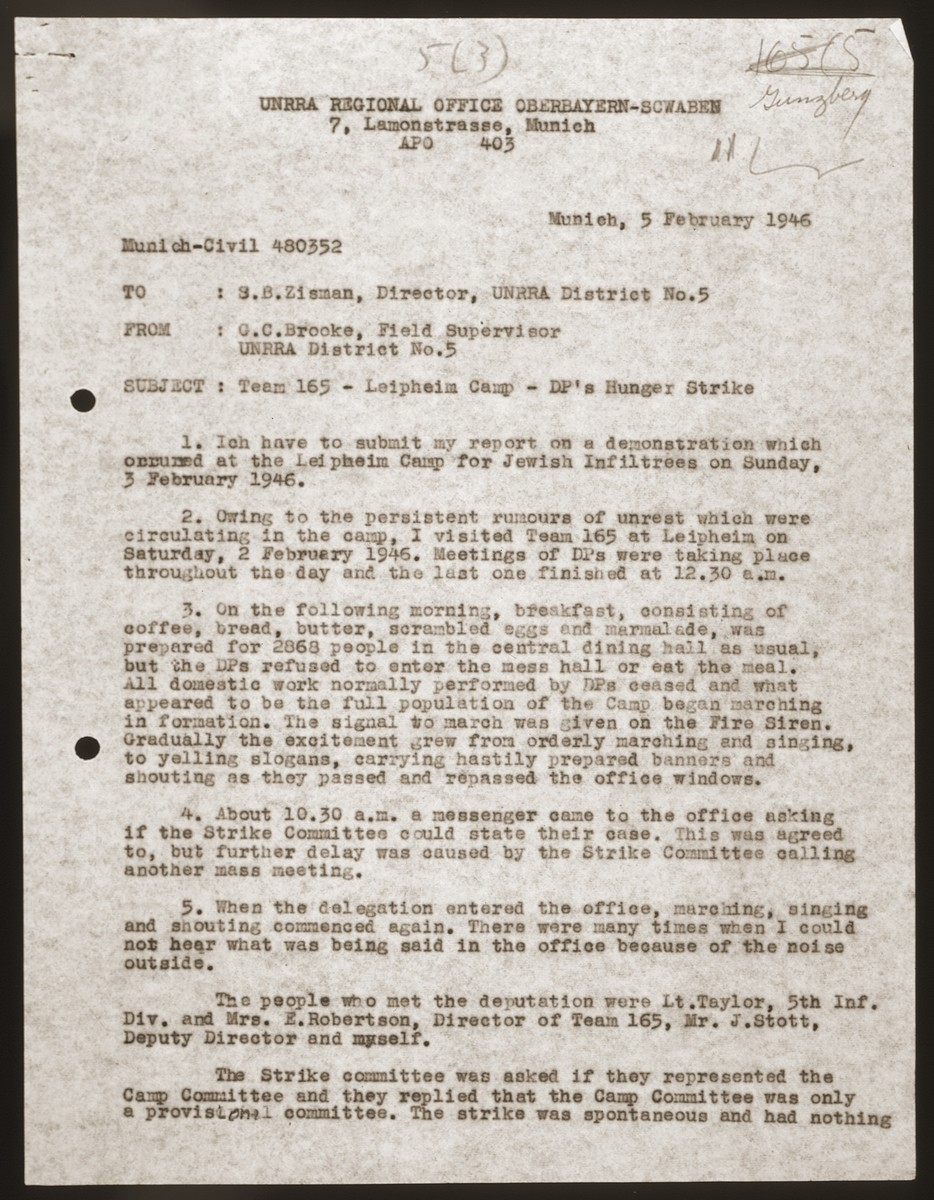 First page of a memo sent to Samuel Zisman, director of UNRRA District no.5, by G.C. Brooke, Field Supervisor UNRRA District no. 5, on the subject of the DP hunger strike at the Leipheim displaced persons camp.