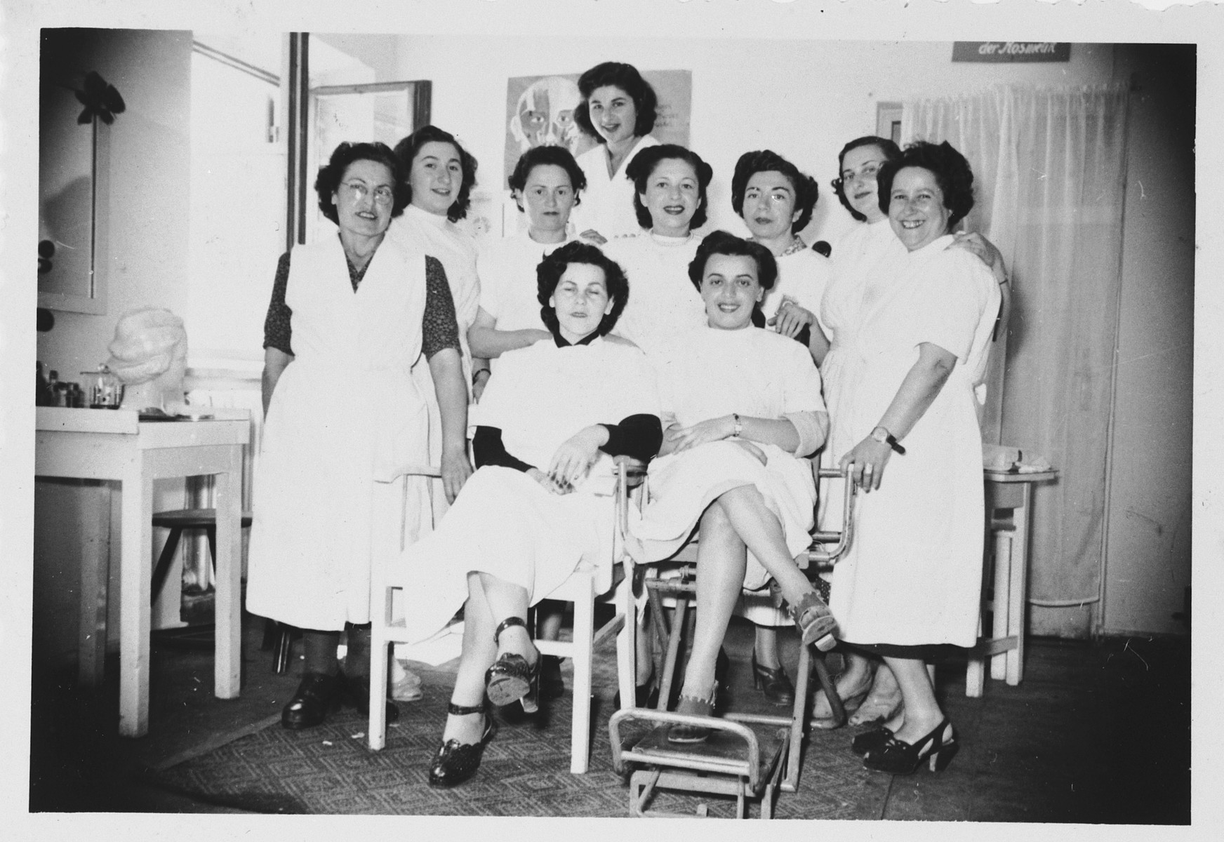 Beautician students in an ORT school in the Foehrenwald displaced persons camp.