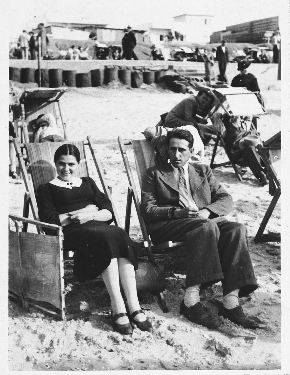 Felicja Klopholcz and a friend visit the beach.  This photograph was part of an album that was saved and retrieved in the following manner.  After the war, Felicja was standing on a street corner in Krakow waiting for a bus.  A total stranger approached her and told her that she recognized her from her photographs.  The Polish woman had moved into the Klopholcz's apartment and found Felicja's photo album and autograph book from school.  The Polish woman had saved the two albums and after bumping into Felicja by pure chance, she returned the books to her.