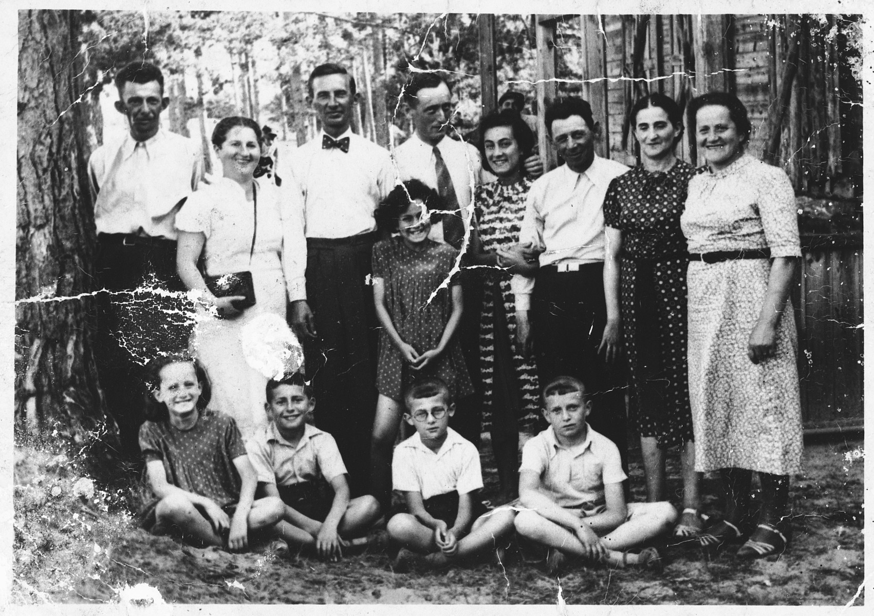 Prewar photograph of the extended Rosenbach family.  This photograph was discovered by a Christian neighbor in 1942 after the deportation of the Rosenbach family and returned to Lajziu after the war.