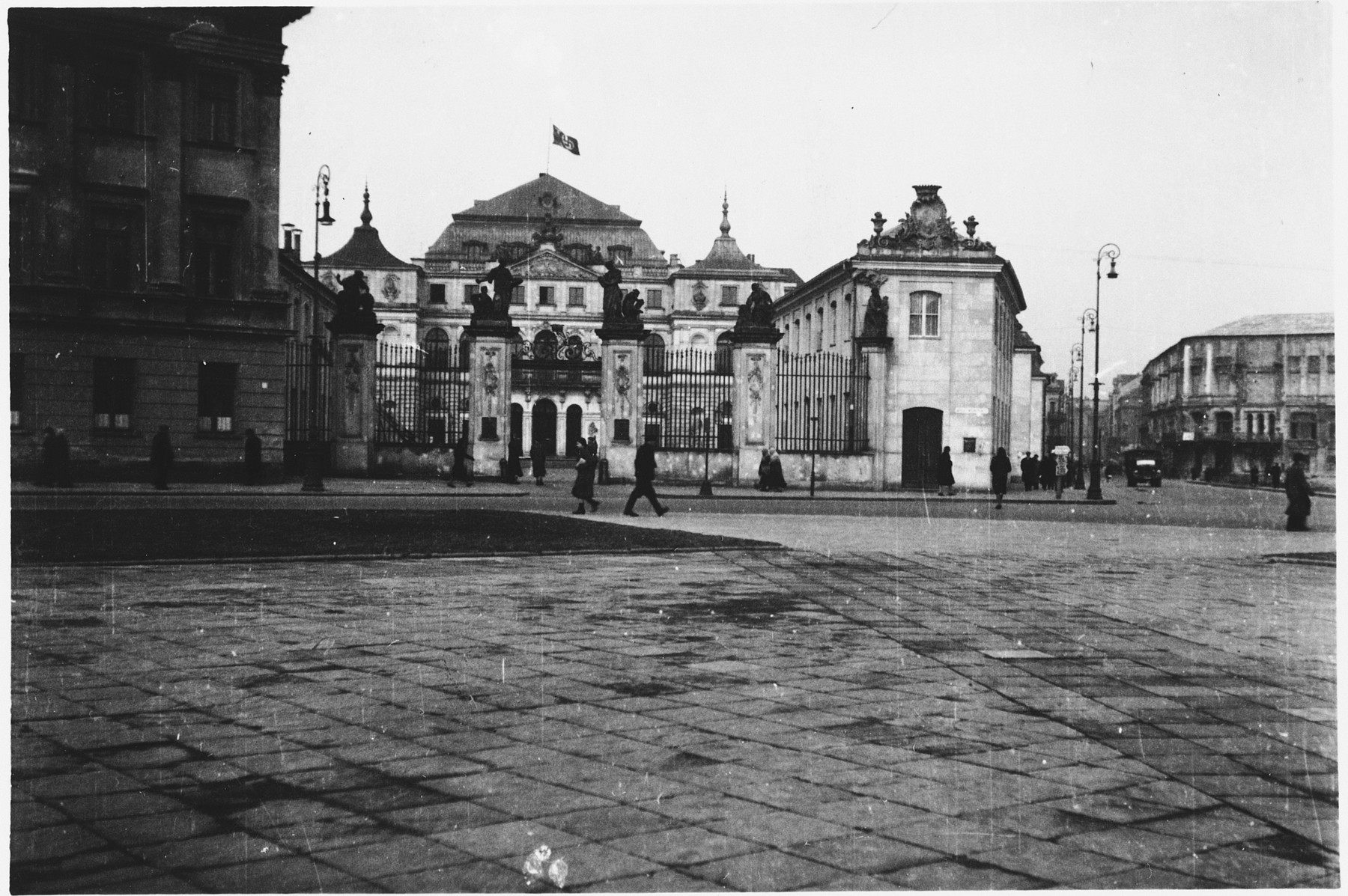 View of the former Polish Foreign Ministry building in Warsaw during the German occupation.