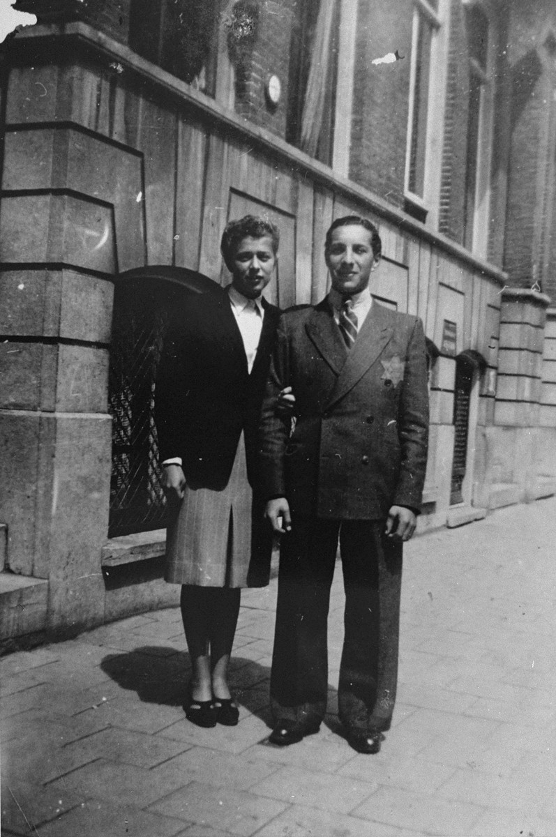 Samuel Schrijver and his fiance, Jetty de Leeuw, pose on a street in the Jewish quarter of Amsterdam.    Jetty was later deported and perished in a concentration camp.