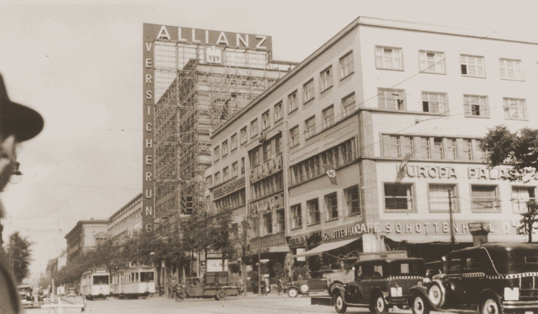 View of the Allianz insurance company building on the Saarlandstrasse under reconstruction during the Nazi period.