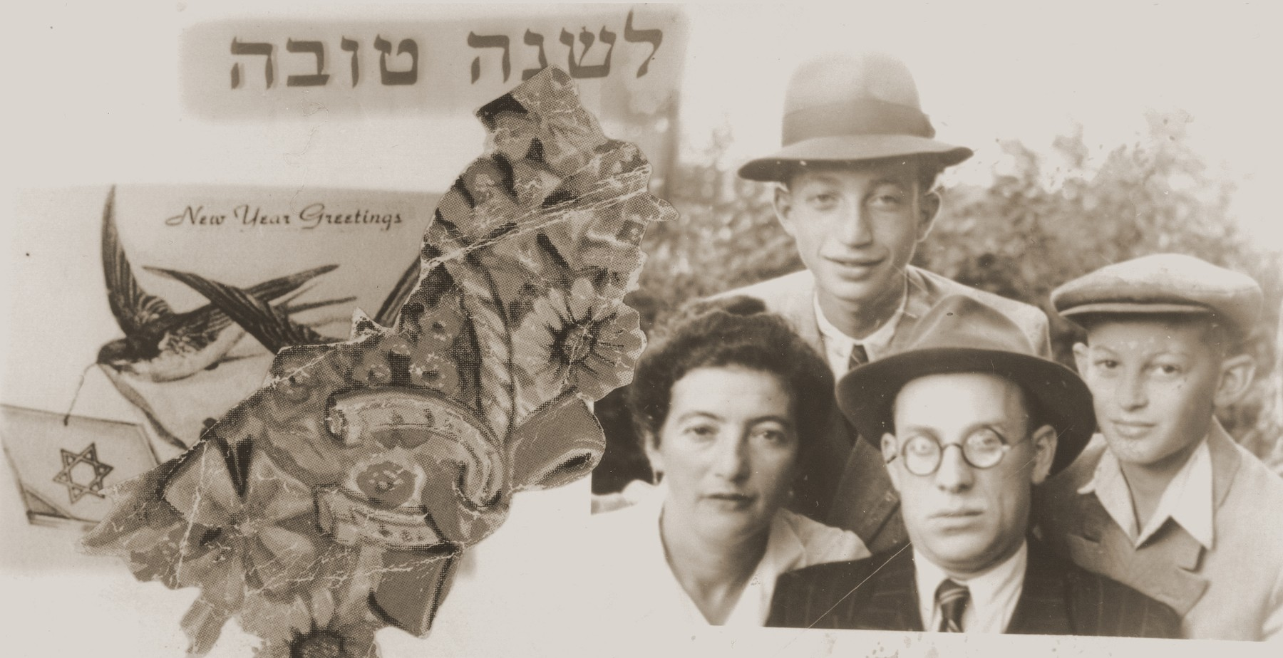 Personalized Jewish New Year's card with a portrait of the Appelbaum family in the Gabersee displaced persons camp.  Pictured are Gittel Chibowsky and Chanania Appelbaum with their two sons, Yitzhak (top) and Motel (right).