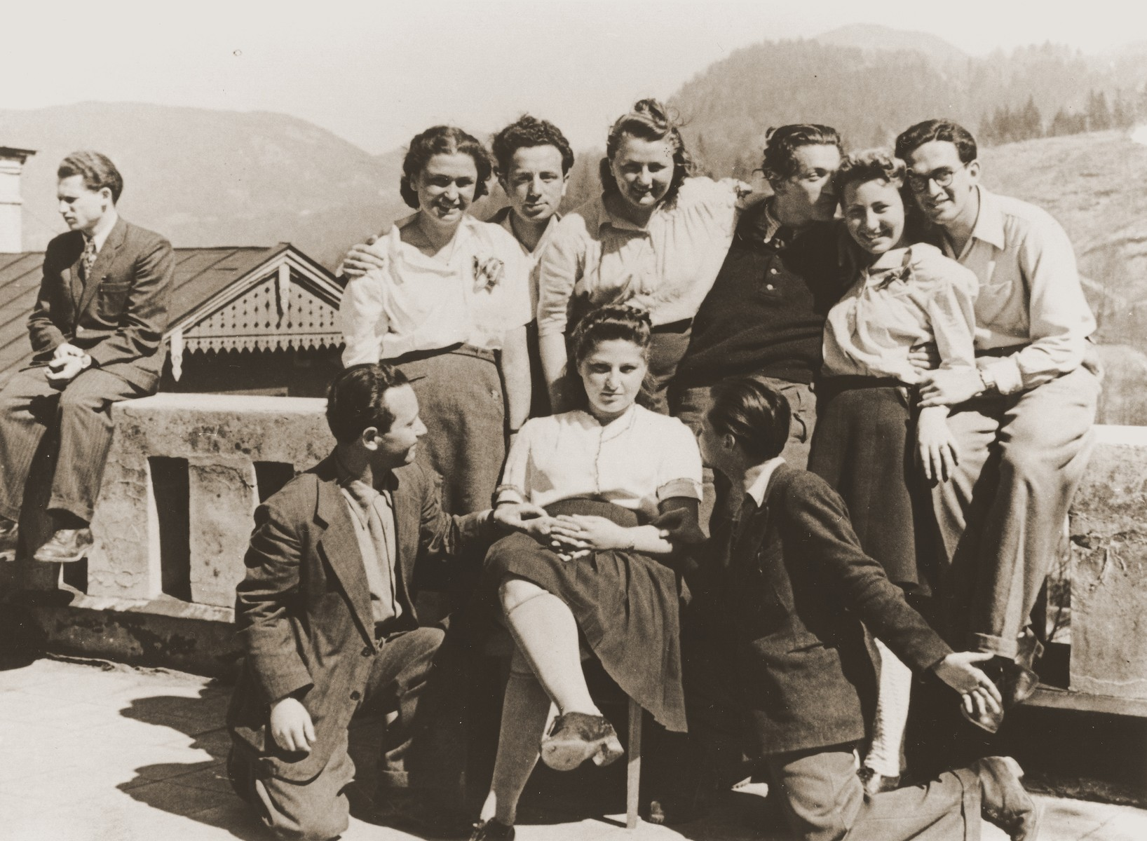 Group portrait of Jewish DP college students from Munich on an excursion to Berchtesgaden.  Janka Sklarczyk from Sloniki is on the far left in the white shirt.  Next to her is Horowitz.  Sandor Bauer is at the bottom left.  Stephan Berko is on the far right and Natan Bierman is in the back, third from the right.