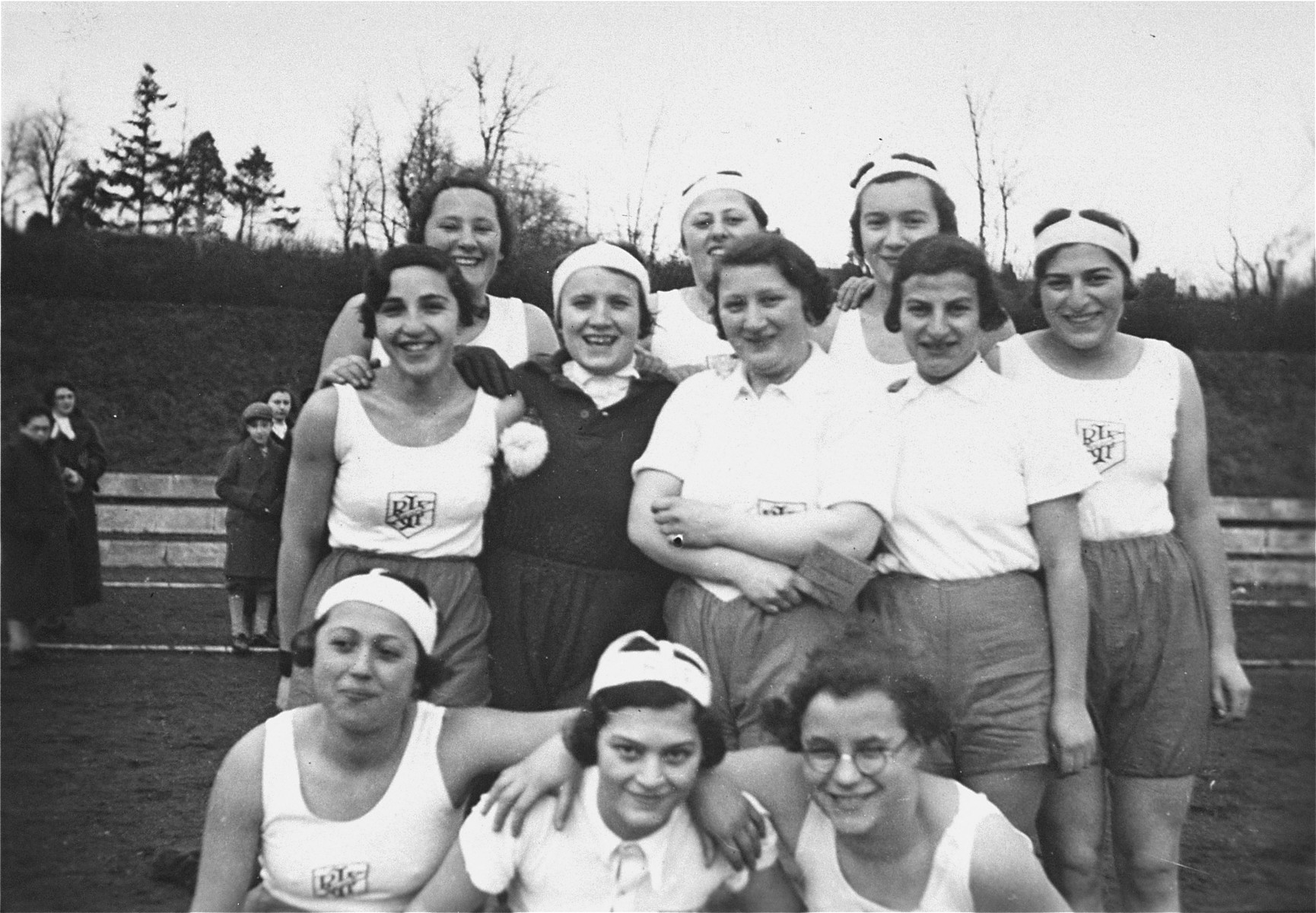 Group portrait of members of the women's handball team sponsored by the Reichsbund juedischer Frontsoldaten.    The donor, Ilse Dahl, is pictured in the back row, third from the left.  Pictured in the center row, second from the right is Grete Herz. Grete was born September 21, 1909 in Erkelenz, and married Max Kaufmann.  She died June 21, 2003 in San Francisco.