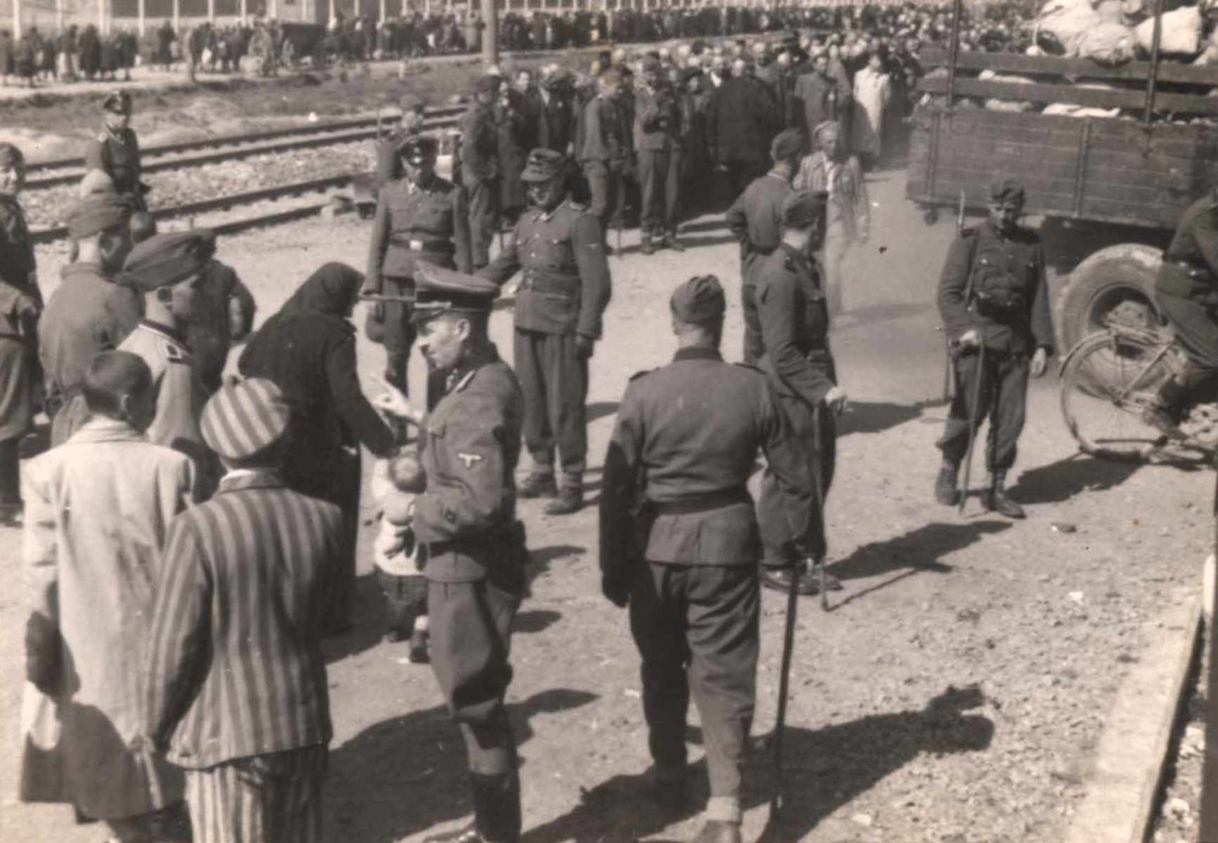 Jews from Subcarpathian Rus await selection on the ramp at Auschwitz-Birkenau.  In the foreground prisoners from the Kanada commando stand near a group of SS men.    Among those pictured is Hans Schorr (the prisoner dressed in a striped uniform standing behind the truck) and Gyorgi Havas in the white coat.