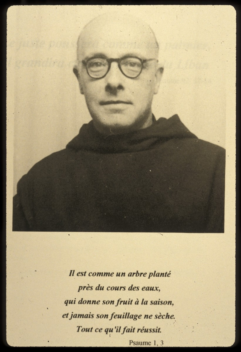 Portrait of Father Bruno (Henri Reynders) with a quotation from psalms underneath.