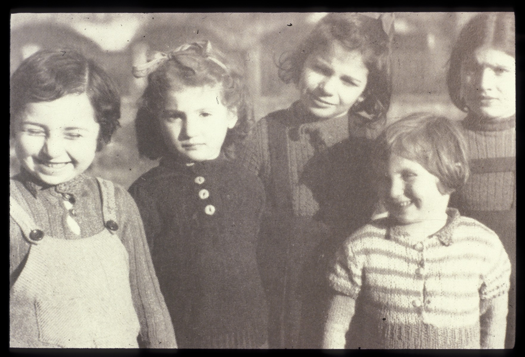 Portrait of five young girls [who probably were among the hundreds of Jewish children hidden by Father Bruno].