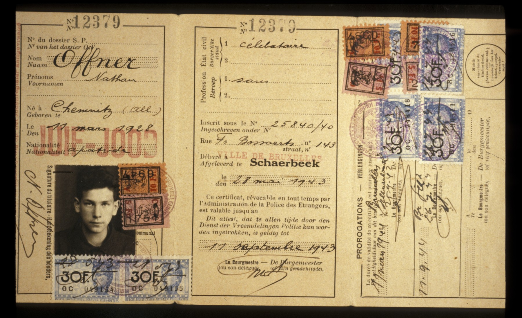 Identification card for a Belgium-Jewish teenager with the word Jew stamped in red in two languages.