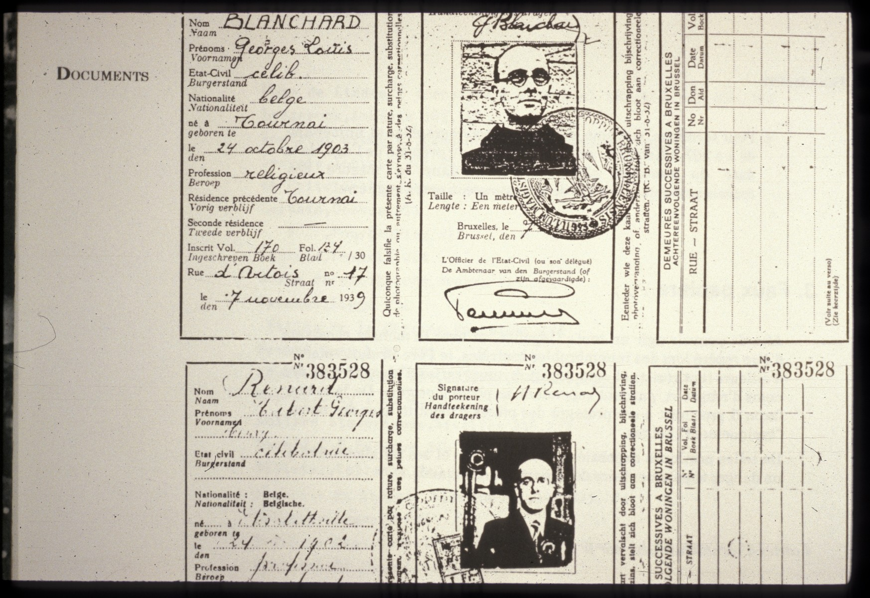False identification papers of Father Bruno (Henri Reynders).