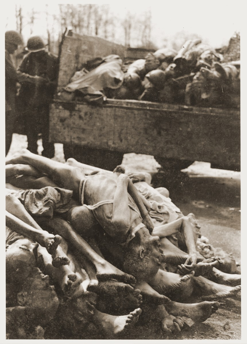 The bodies of Buchenwald victims piled on the back of a truck and on the ground next to it.