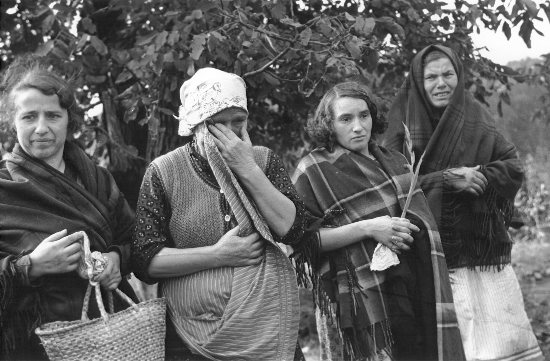 """Four Polish women view with anguish the bodies of those killed in a field in Warsaw, where they were digging for potatoes during the siege of the capital.  In the words of photographer Julien Bryan, """"As we drove by a small field at the edge of town we were just a few minutes too late to witness a tragic event, the most incredible of all.  Seven women had been digging potatoes in a field.  There was no flour in their district, and they were desperate for food.  Suddenly two German planes appeared from nowhere and dropped two bombs only two hundred yards away on a small home.  Two women in the house were killed.  The potato diggers dropped flat upon the ground, hoping to be unnoticed.  After the bombers had gone, the women returned to their work.  They had to have food.  But the Nazi fliers were not satisfied with their work.  In a few minutes they came back and swooped down to within two hundred feet of the ground, this time raking the field with machine-gun fire.  Two of the seven women were killed.  The other five escaped somehow.""""  [Source: Bryan, Julien. """"Warsaw: 1939 Siege; 1959 Warsaw Revisited."""" Warsaw, Polonia, 1959, pp.20-21.]"""