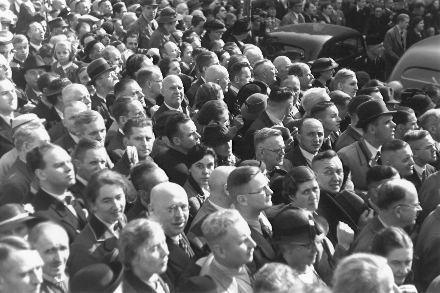 A large crowd of Germans attends a Nazi rally in Cologne.
