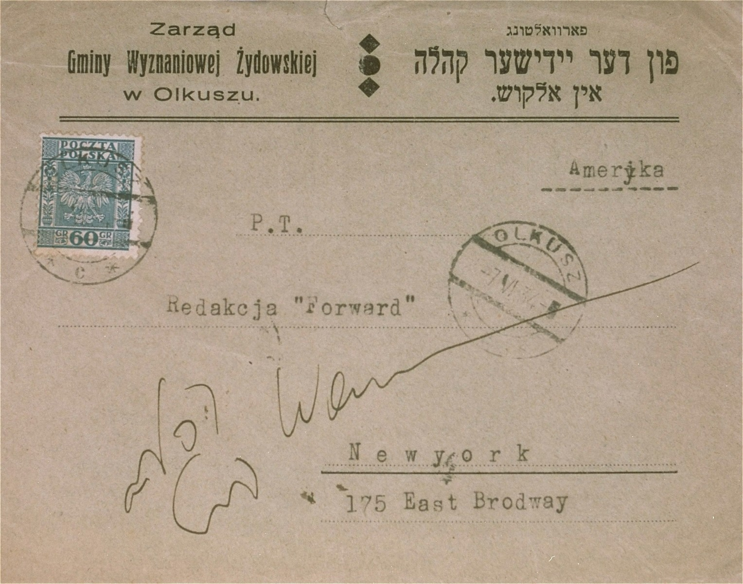 An envelope, sent from the offices of the Jewish Community in Olkusz, to the editors of the Forward, an Yiddish daily newspaper in New York City.