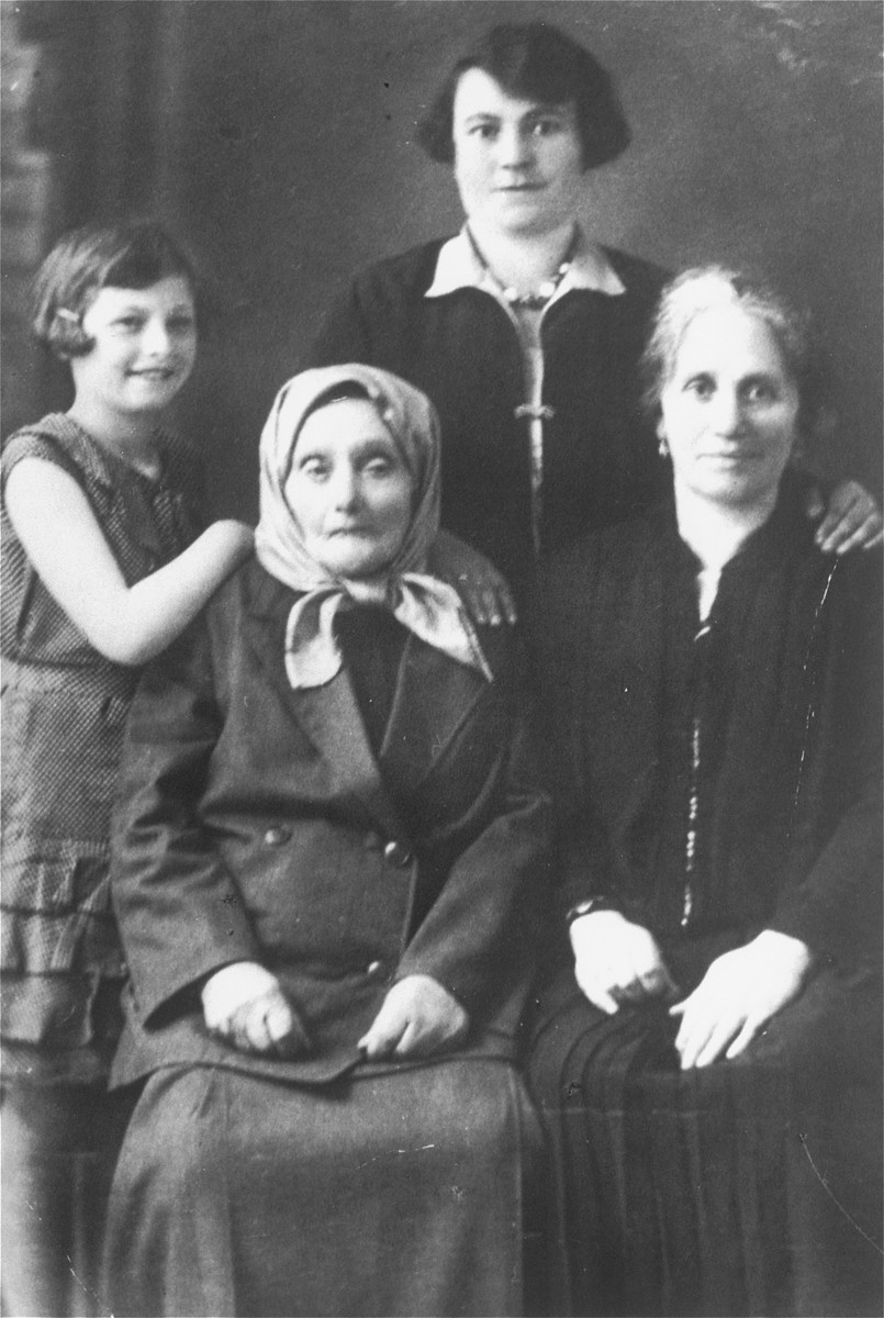 Portrait of members of four generations of the the Gaenger/Petranker family.  Pictured from youngest to oldest are: Pepka Petranker, Frieda (Gaenger) Petranker, Rivka (Landau) Genger, and Shprinza Landau.