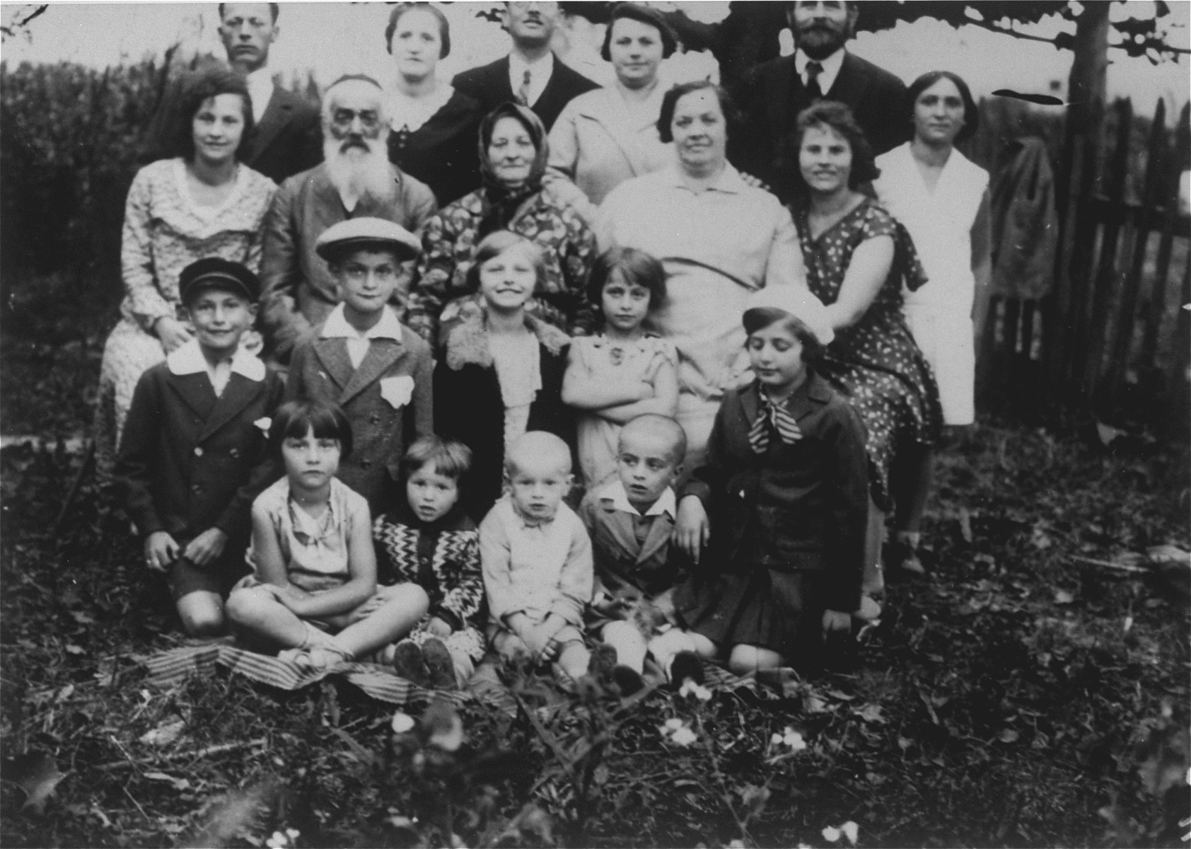 Portrait of the extended Gaenger/Petranker family.  Among those pictured are David and Frieda Petranker, (top row, third and fourth from the left); and Joseph and Chana Leah Petranker (third row, second and third from the left).