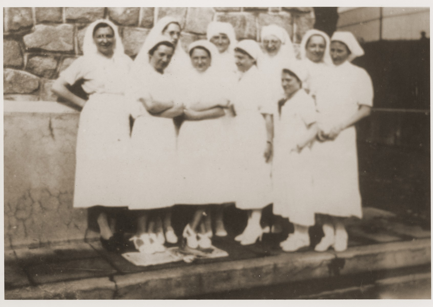 The team of nurses at the Recebedou camp.   At the back in the middle is Mademoiselle Hentsch, next to her in glasses is Helene Guillemin-Tarayre (a lifelong friend of Isabelle Peloux, the aunt of Marie Genevieve Parmentier). At left, with her arms crossed, is Mademoiselle Rondespierre, who followed Isabelle to Recebedou.
