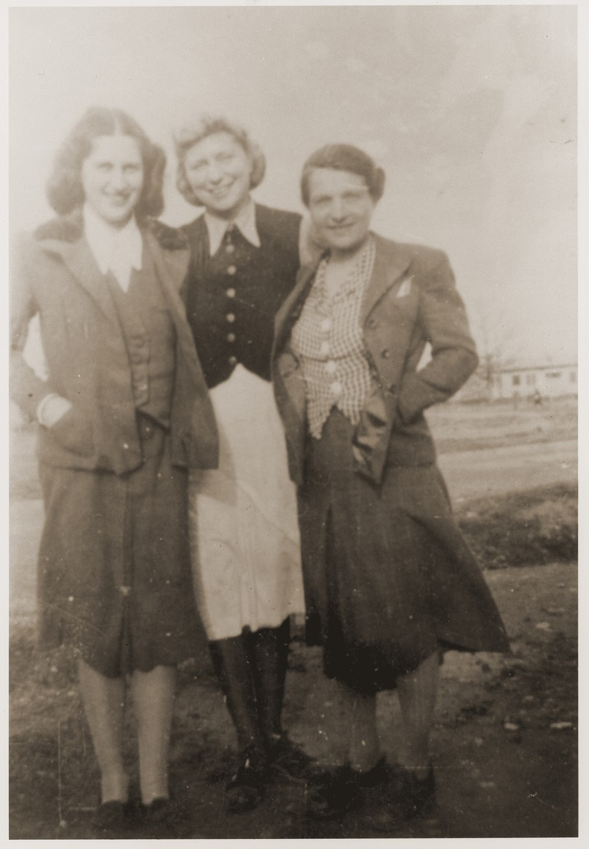 Isabelle Peloux (right), aunt of Marie Genevieve Parmentier, with two refugees: Trauchen and Senta Navratski.   Trauchen died several years later of tuberculosis or bone cancer. Senta later married another Recebedou refugee, Louis Loewe, and went to the United States.  Marie Genevieve Parmentier was a ten year-old French girl living in Paris at the time of the German occupation in 1940. Her widowed mother sent her to safety with an old relative in Ariège in the South of France. She sooned joined her aunt, Isabelle Peloux, a military nurse, at the camp of Recebedou. While there she attended primary school at nearby Portet-sur-Garonne, before returning to her family in the summer of 1941.