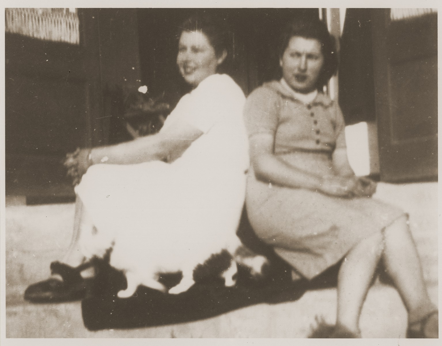"""Rosita and Maria , Spanish members of the staff and assistants to cook Senor Agustin Bertomeu y Caza, at the Recebedou camp.   Rosita and Maria """"were like big sisters"""" to Marie Genevieve Parmentier."""