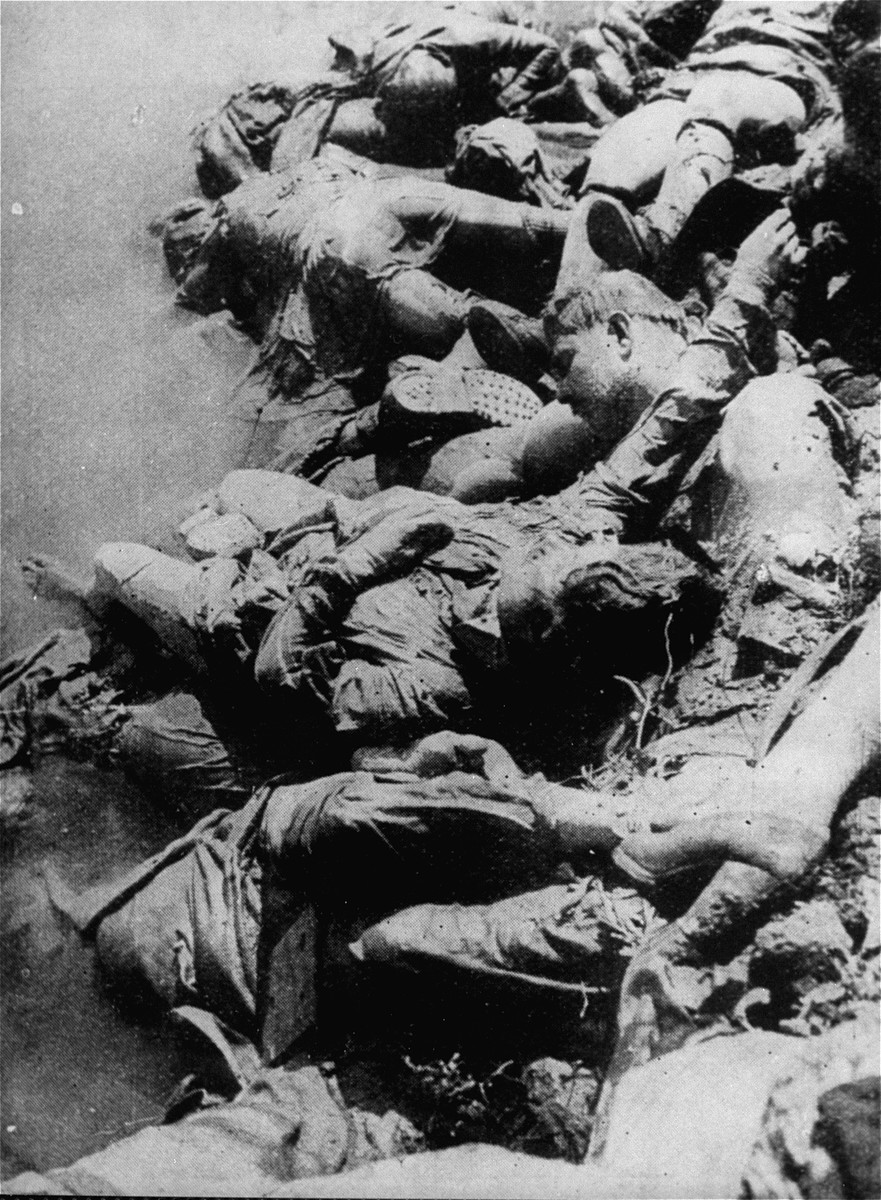 The corpses of victims of the Jasenovac concentration camp floating in the Sava River.