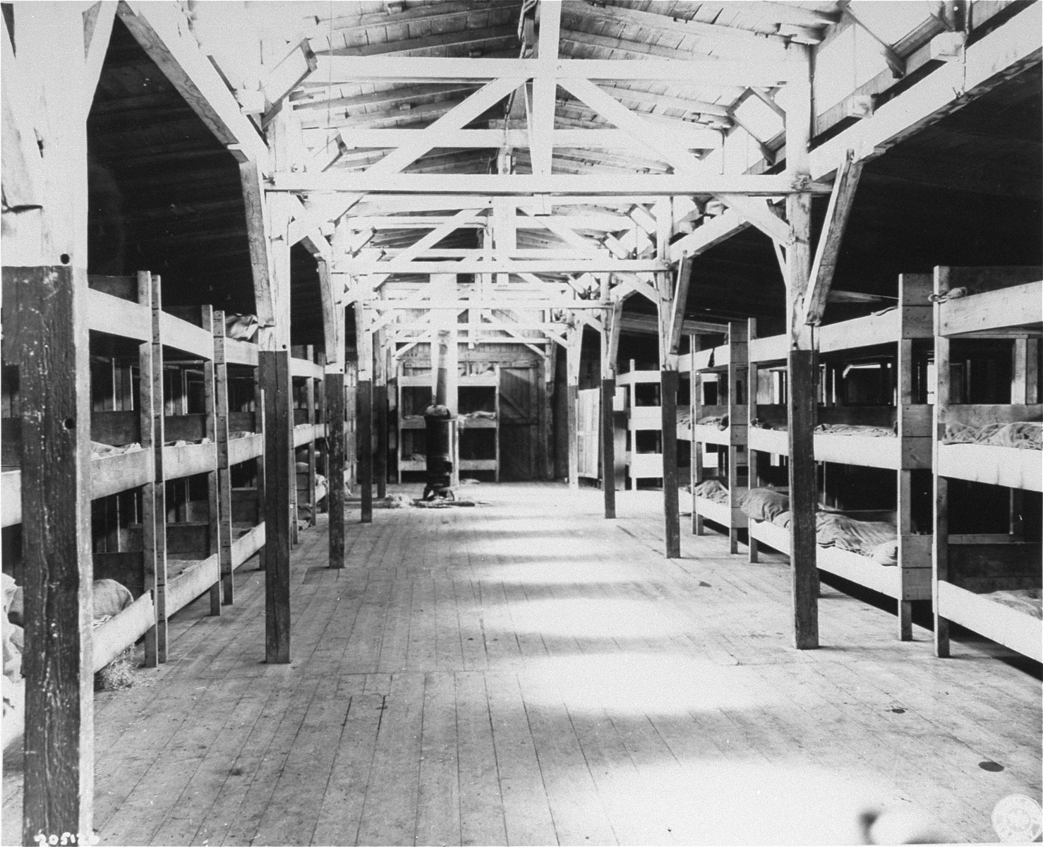 The interior of a barracks in the Flossenbuerg concentration camp that was intended to house 1500 prisoners.