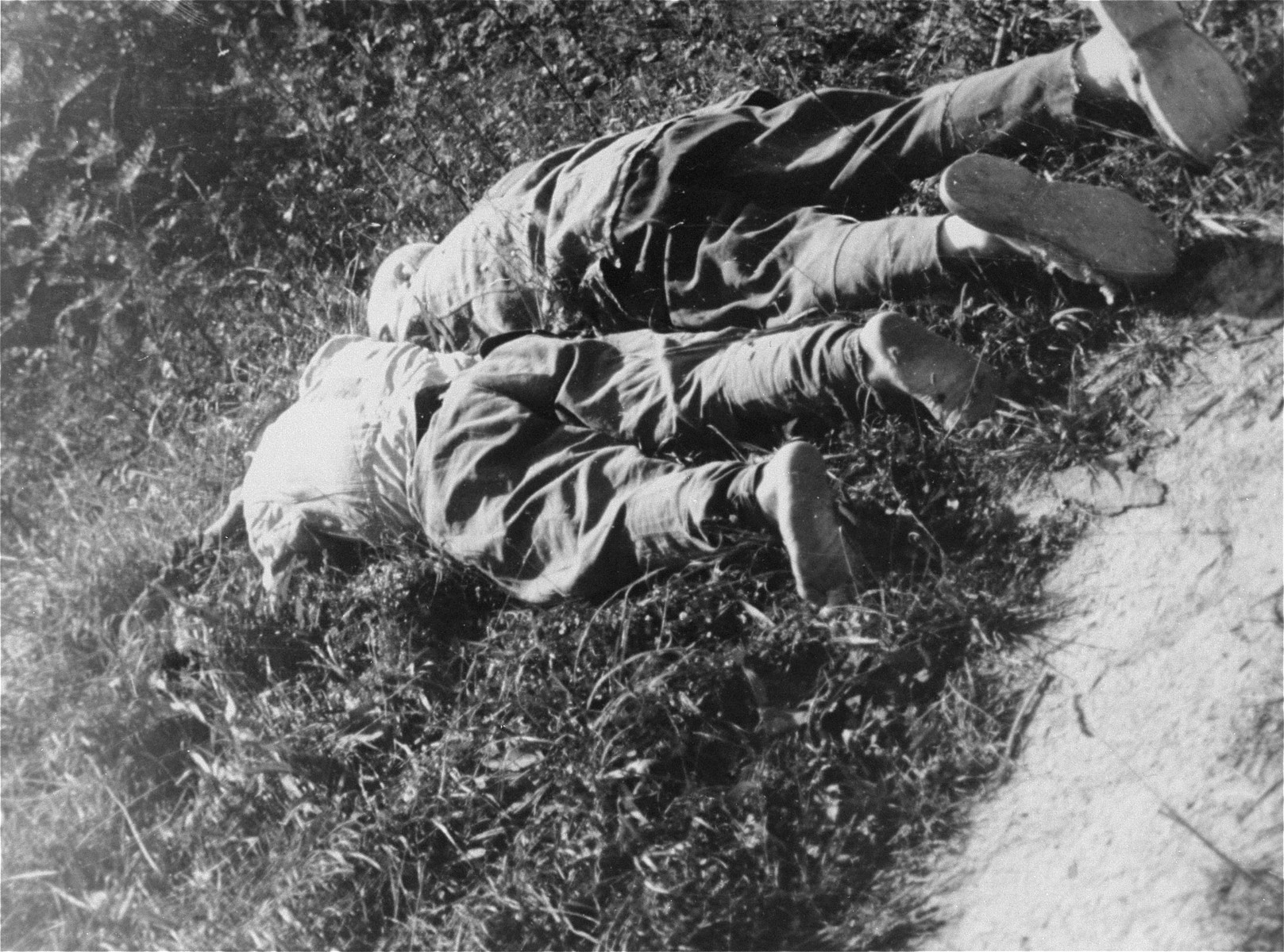 The bodies of two Czech brothers who were shot in the Wiener Graben quarry at Mauthausen.