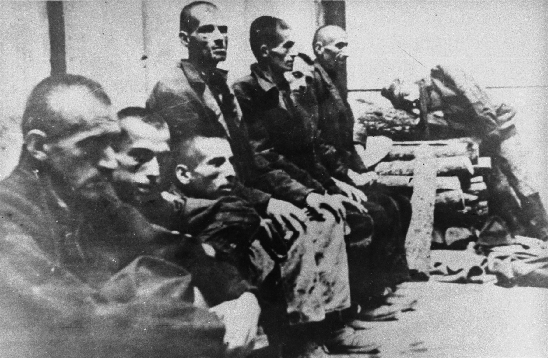 Serbian prisoners interned in Jasenovac.