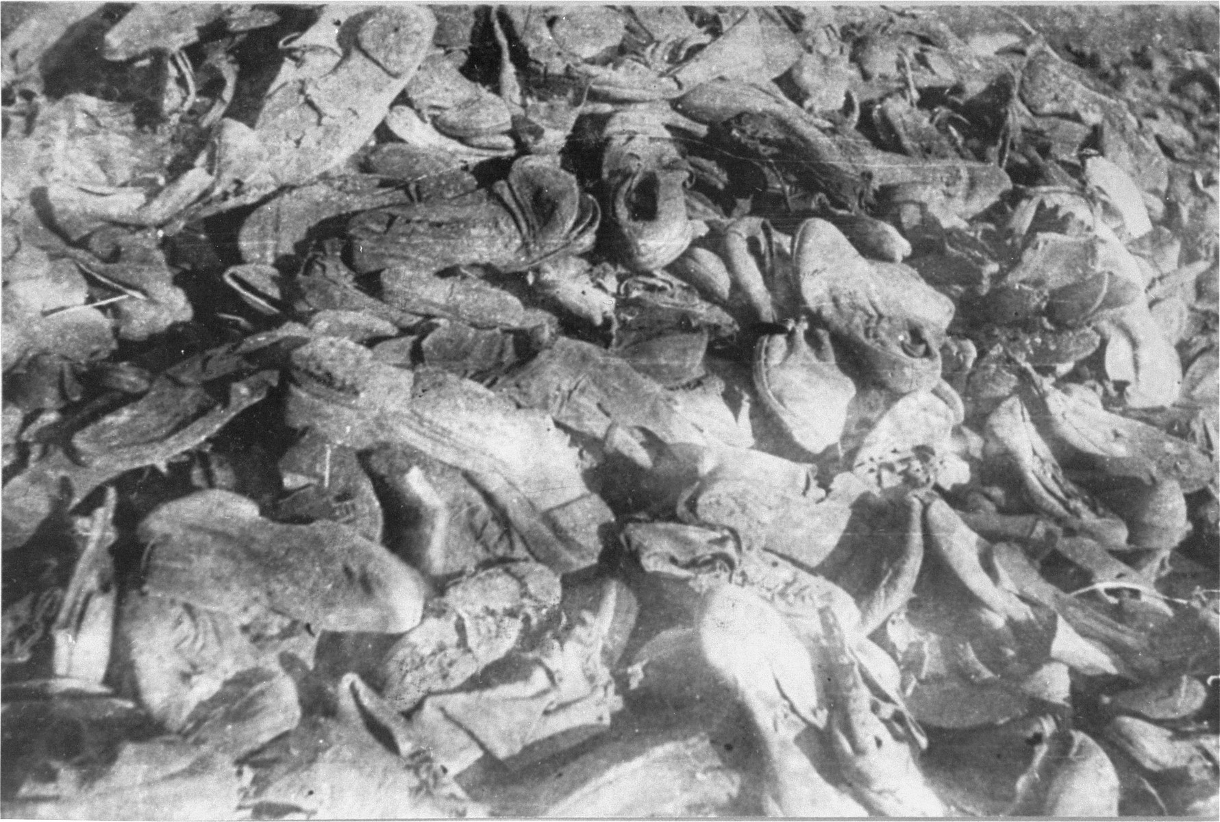 Piles of prisoners' shoes found the Janowska concentration camp by the Red Army.