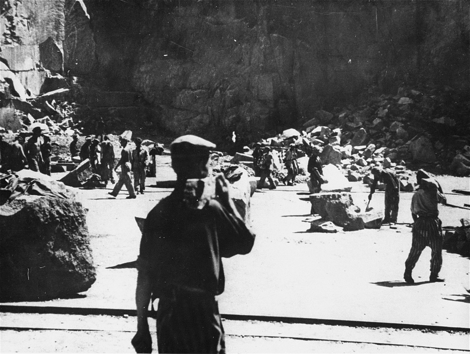 Prisoners at forced labor in the Wiener Graben quarry at the Mauthausen concentration camp.