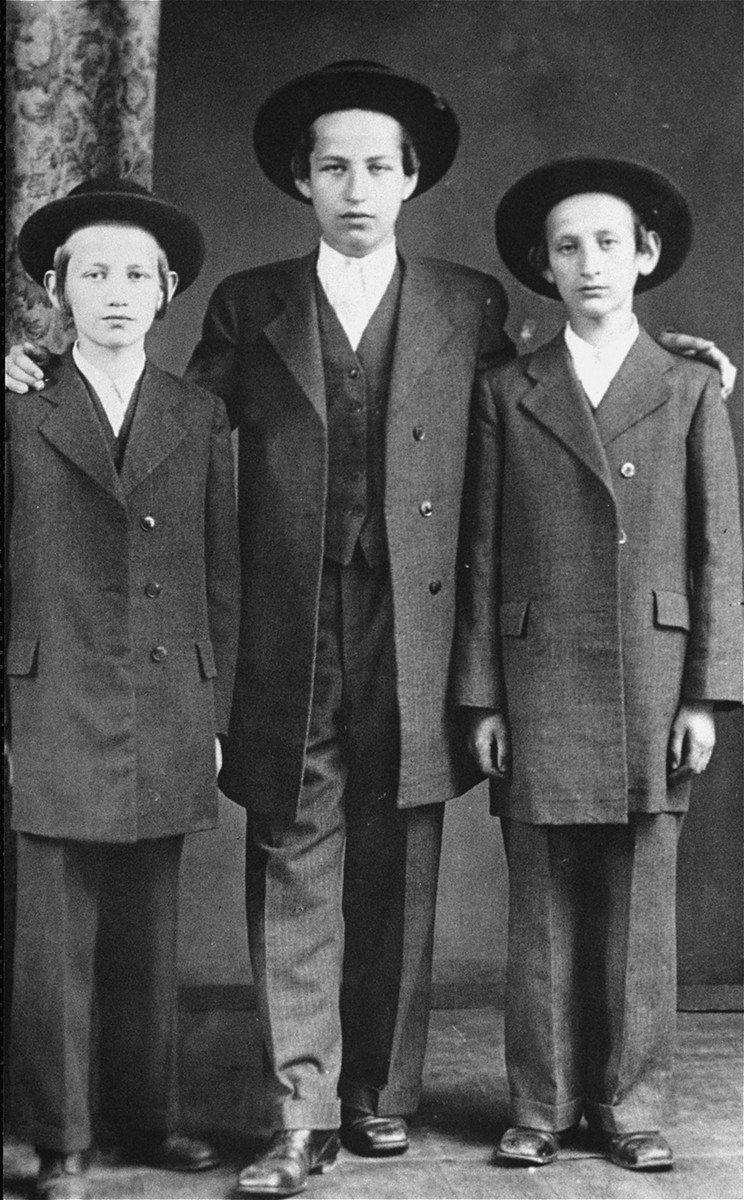 Portrait of the Freund brothers.  One photograph among a series of family portraits taken by a Jewish studio photographer in Sighet, Romania in the 1920's and 30's.