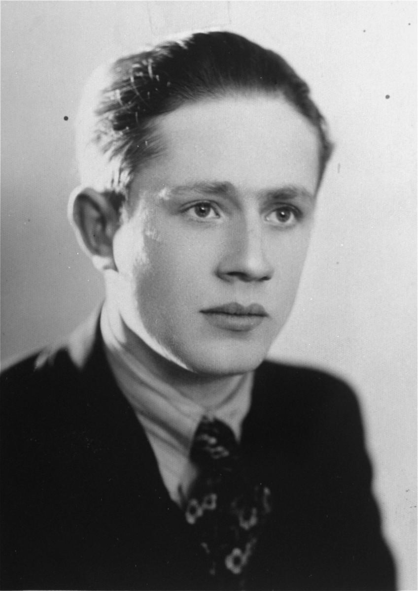 Portrait of a Jewish youth, Ion Butnaru, in Husi, Romania.