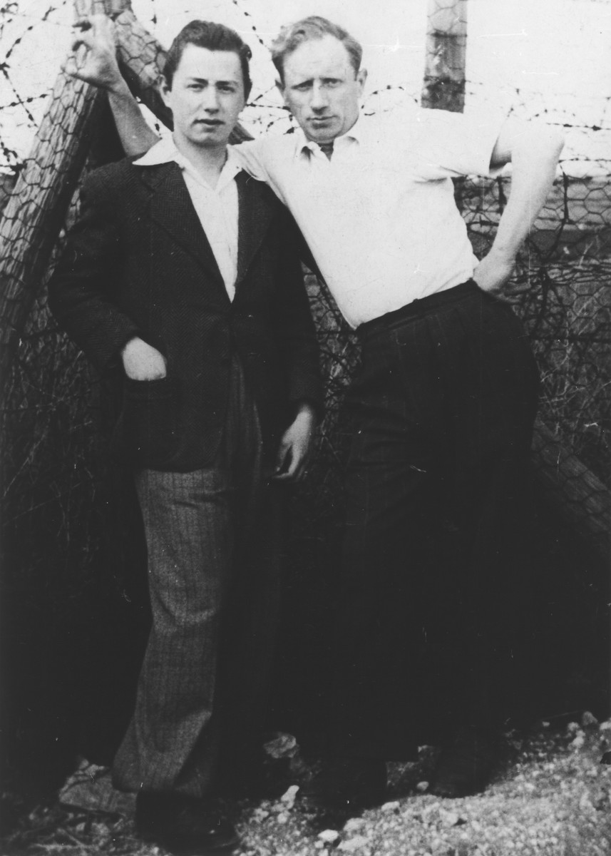 Portrait of two prisoners at the Beaune-la Rolande internment camp.  Pictured at the left is Aba Sztern, who was later deported to Auschwitz on convoy #5.